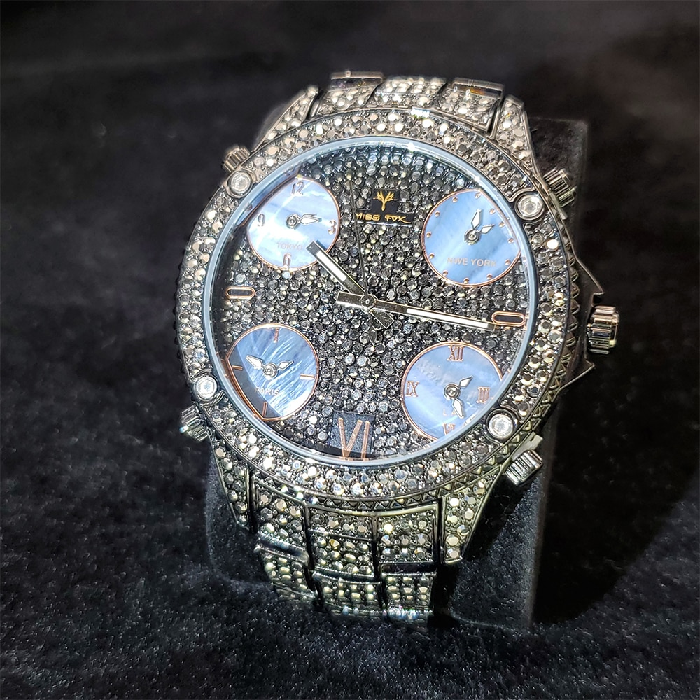 Hip Hop MISSFOX Men's Black & Blue Quartz Watches Fashion Wristwatches Top Brand Luxury Steel Bracelet Waterproof Iced Out Watch enlarge