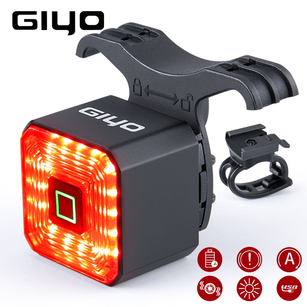 GIYO Smart Bicycle Light Rear Taillight Bike Accessories Auto On/Off USB Rechargeable Stop Signal Br