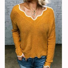Frauen Mode Herbst Warme Pullover Knittwear Langarm V-ausschnitt Tops Casual Solide Strick Pullover Jumper