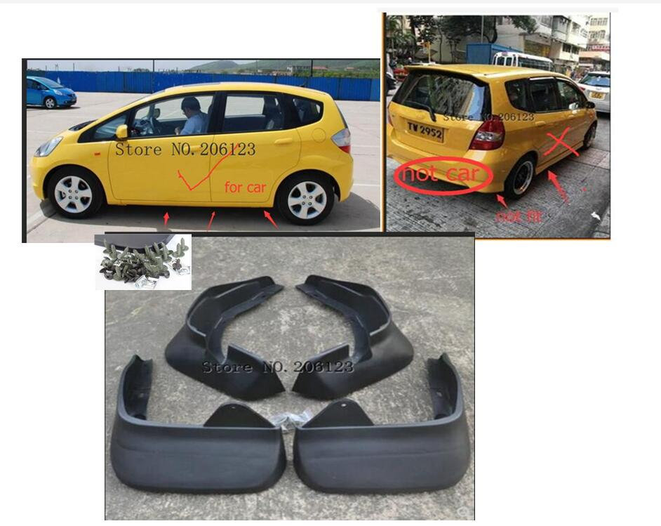 Set Molded Mud Flaps For Honda Fit Jazz Hatchback 2004 2005 2006 2007 2008 Mudflaps Splash Guards Front Rear Mud Flap Mudguards