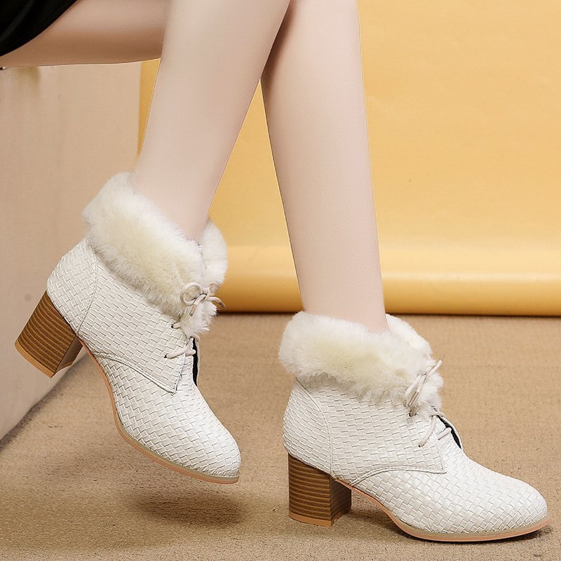 New Arrival Women Boots White Black Fur Warmer Ankle Boots Lace Up 6cm High Chunky Heels Walking Shoes Mujer Fur Boots 35-43