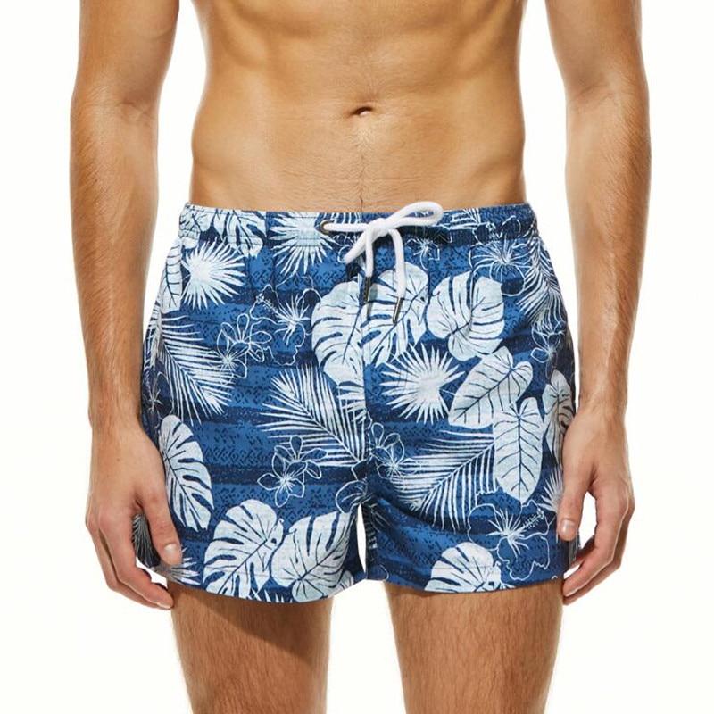 Мужские пляжные шорты с цветочным принтом SEOBEAN, пляжные шорты, Мужской пляжный купальник, короткие пляжные шорты быстросохнущие