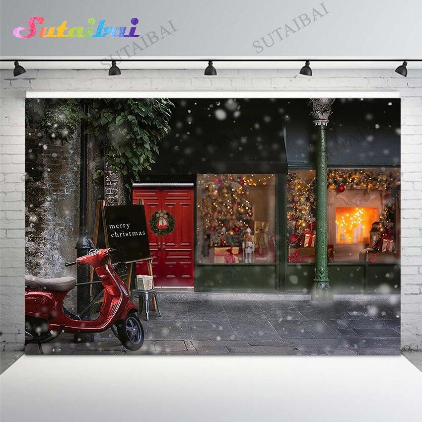 Рождественский фон украшение уличный подарок Магазин блестясветильник боке снежинка фон кирпичная стена фотография фоны