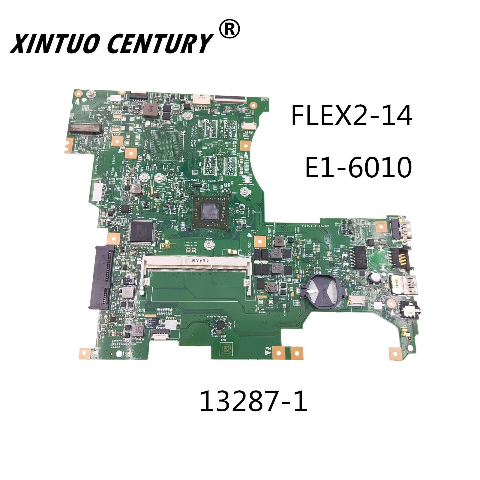 13287-1 For Lenovo Flex2-14 computador portátil placa-mãe 448.00y02. 0011 com EM6010 E1-6010 CPU 100% test