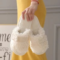 autumn winter cotton slippers fur rabbit home warm thick bottom indoor ladies shoes flip flops house slippers women cute fluffy