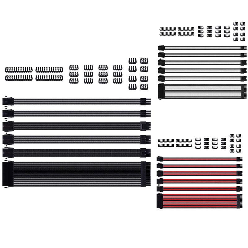طقم تمديد كابل بدون أكمام مع جلبة إضافية ، موصل PSU ، 24-Pin 8-Pin 6-Pin 4-Pin مع مشط سلك