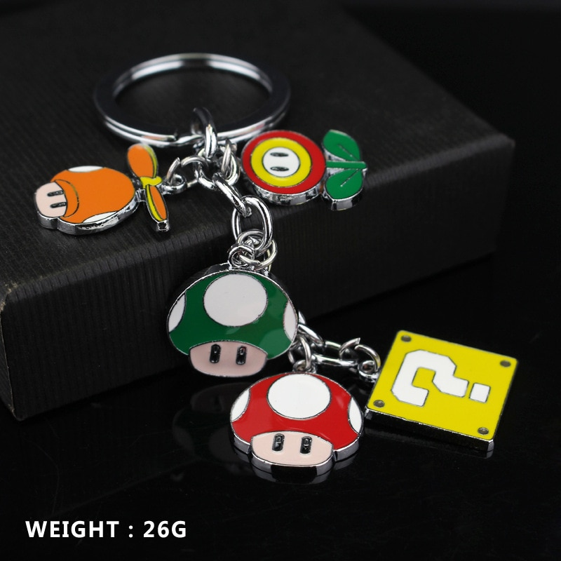 Классическая-игра-аниме-брелок-мультфильм-сплав-грибы-Цветы-подвеска-брелок-автомобильный-брелок-для-ключей-брелок-для-влюбленных-подарок