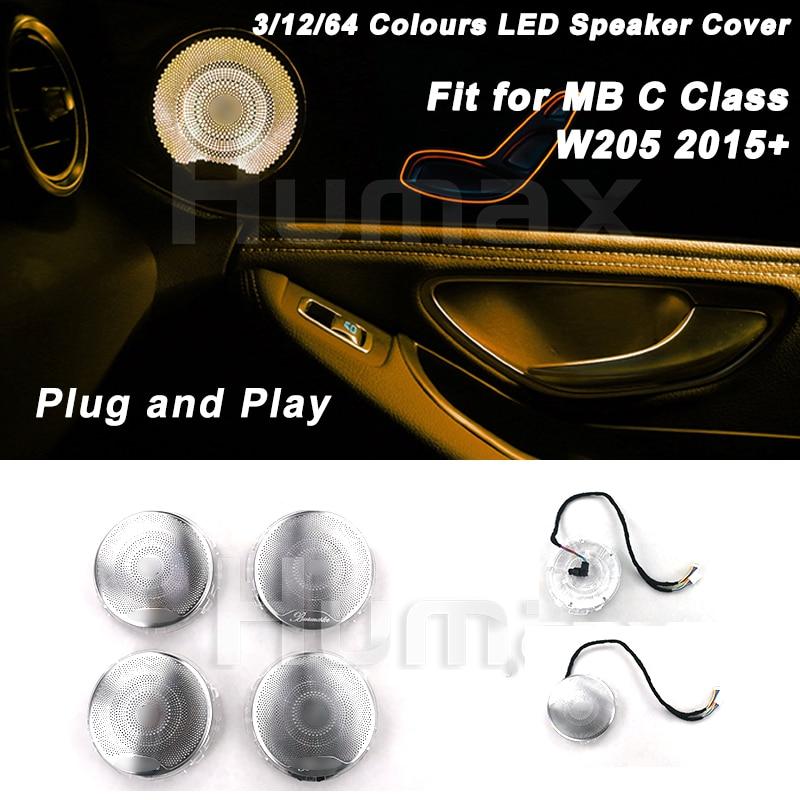 Car Audio Speaker Cover Door Loudspeaker Cover for Mercedes C Class W205 C200 C300 C250  with Ambient Lighting LED