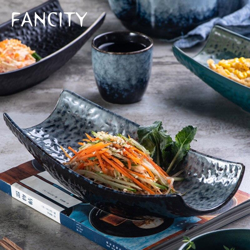 FANCITY-طبق سوشي على الطريقة اليابانية للمنزل ، أدوات مائدة إبداعية غير منتظمة الشكل ، طبق حلوى شخصي ، مجموعة جديدة 2021
