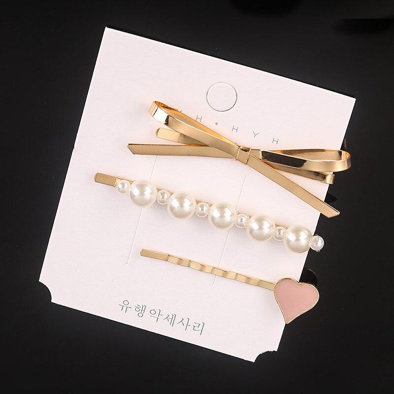 1Set Fashion Pearl Hair Clips For Women Sweet Girl Simple Hairgrip Hairpins  Metal  Geometric Alloy Hairband Barrette BB Clip