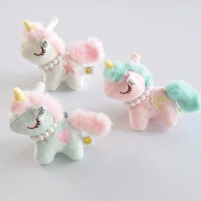 Precioso 8cm unicornio dulce caballo de peluche llavero suave animales muñeca Mini caballo bolsa colgante juguete para chico Regalo de Cumpleaños de Navidad de las muchachas