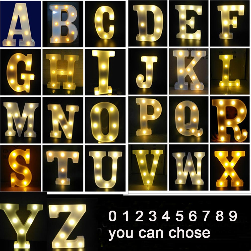 3D LED Night Lamp 26 Letter 0-9 Digital Marquee Sign Alphabet Light Wall Hanging Lamp Indoor Decor Wedding Party LED Night Light enlarge
