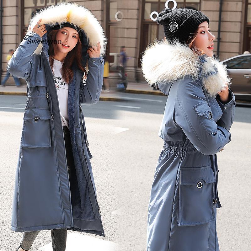 Женские Длинные парки, Толстая теплая зимняя куртка с большим меховым воротником и капюшоном, пальто, Зимние Повседневные парки, верхняя од...