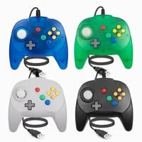 usb version 2 pack classic mini n64 controller wired pc game pad joystick for windows pc mac linux raspberry pi switch console