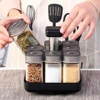 creative glass seasoning bottles rotating seasoning box salt pepper shaker condiments storage bottle kitchen gadgets 9pcs