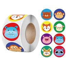 Pegatina de animales para niños, juguete clásico de dibujos animados para maestro de escuela, recompensa motivacional, 50-500 Uds.