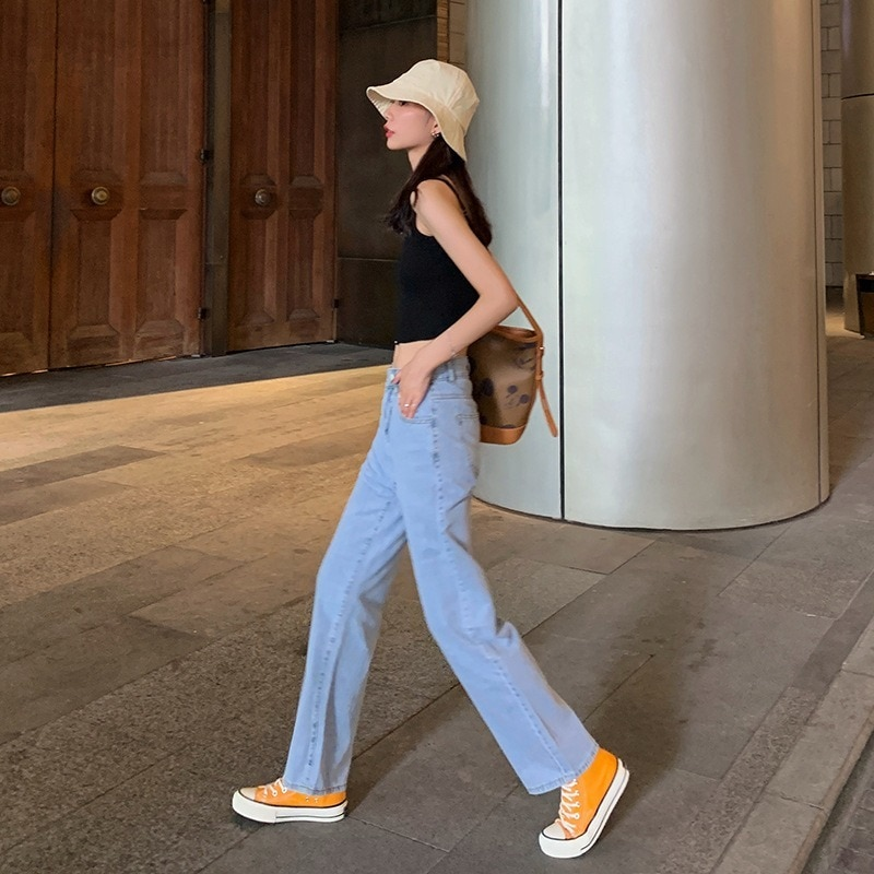 Spring and Summer 2020 New High Waisted Washed Jeans for Women Fashion Loose, Thin and Sagging Straight Tube Wide Leg Pants