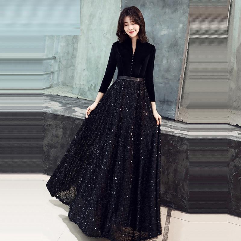 Black Evening Gown V-Neck Botton Solid Patchwork Sequined Robe De Soiree Three Quarter Sleeve Evening Dress