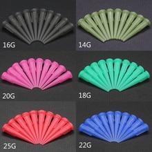 Agujas dispensadoras de pegamento líquido, agujas dispensadoras de puntas cónicas de plástico, 14-25GA, 100 unidades