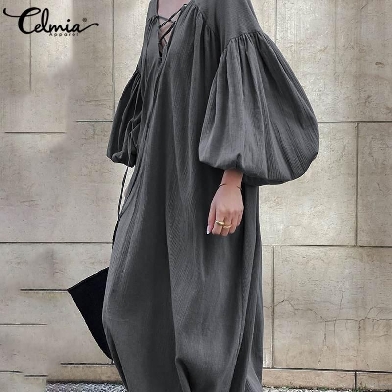 Vintage Kleid Frauen Sexy Laterne Hülse Maxi Kleider Celmia Mode V-ausschnitt Lace Up Casual Solide Backless Rüschen Party Sommerkleid