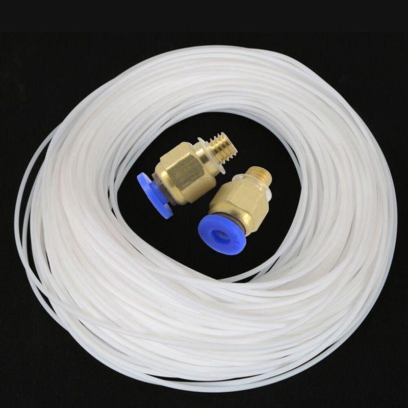 5 medidores de ptfe teflon bowden tubo com 2 pces PC4-M6 montagem para 1.75mm filamento creality impressora 3d bowden hotend