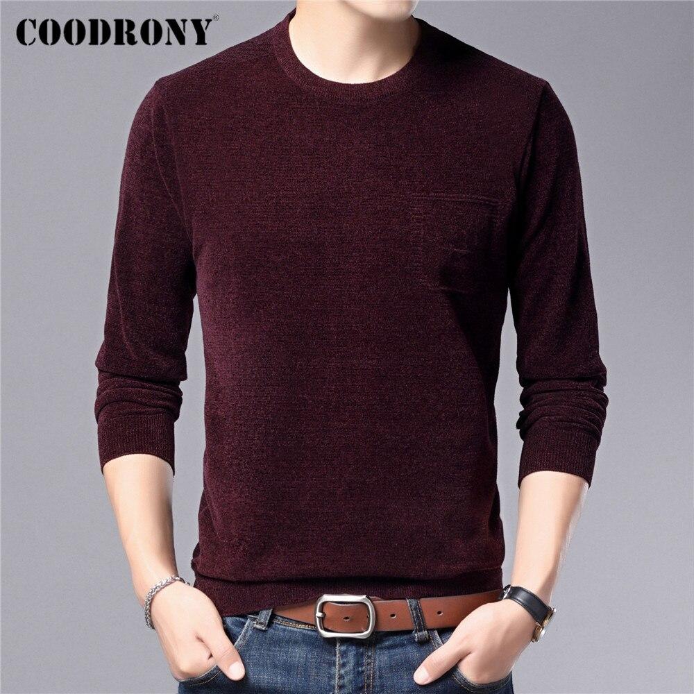 COODRONY – pull à col rond pour homme, vêtement en maille Chenille, doux et chaud, marque, nouvelle collection automne hiver, C1328