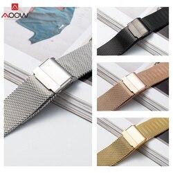 12mm 14mm 16mm 18mm 20mm laço milanês pulseira de relógio pulseira para dw universal aço inoxidável metal relógio banda pulseira