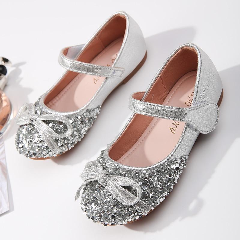 لامع الفضة الذهب بريق أزياء للبنات أحذية الأميرة حفلة عيد ميلاد ماري جين الشقق أحذية الزفاف الزهرية الحلو bowknot
