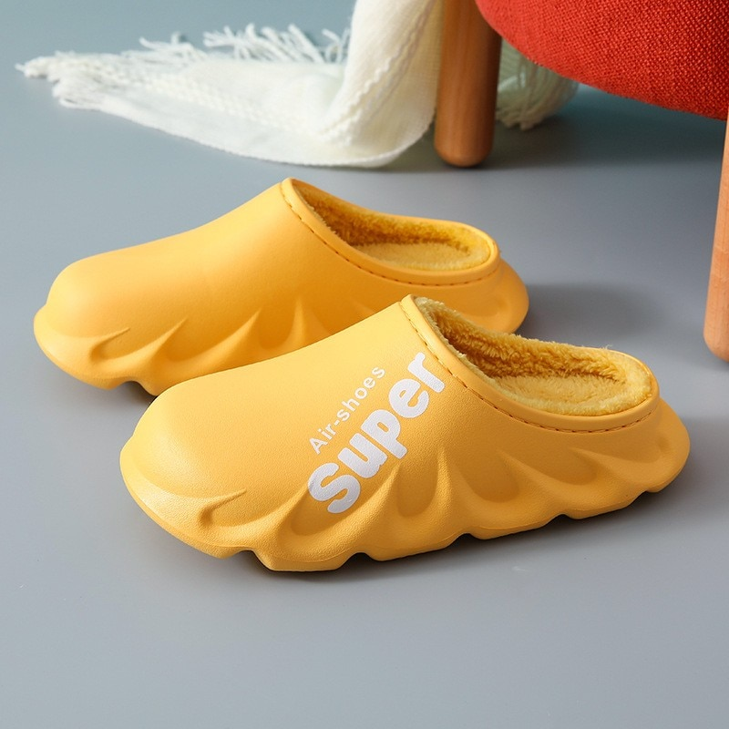 Ins Women Men Winter Warm Home Slippers Pu Leather Waterproof Casual Furry Thick Soled Shoes Indoor
