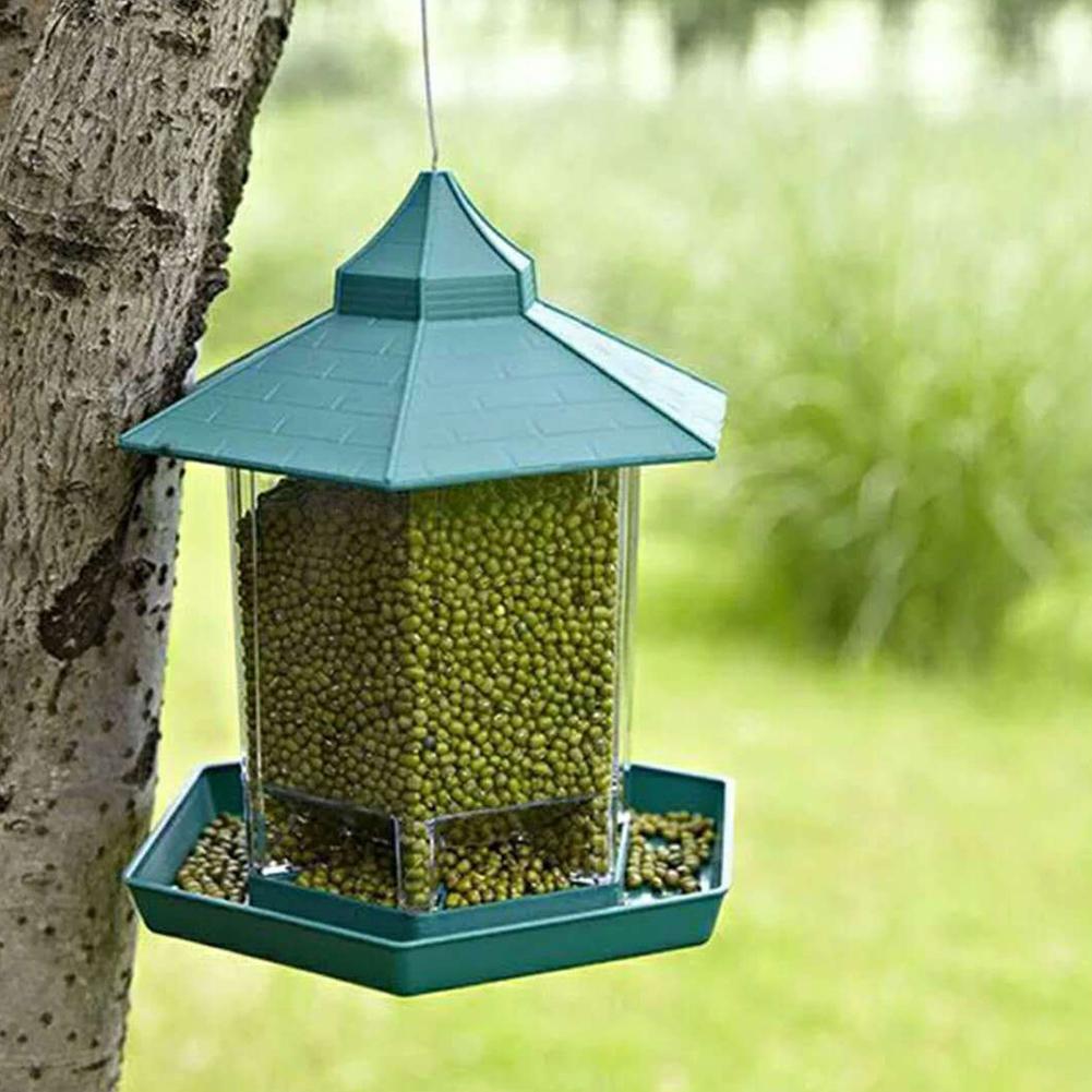 MeterMall pabellón verde comedero para pájaros contenedor de comida colgante para exteriores decoración de jardín para mascotas jaula
