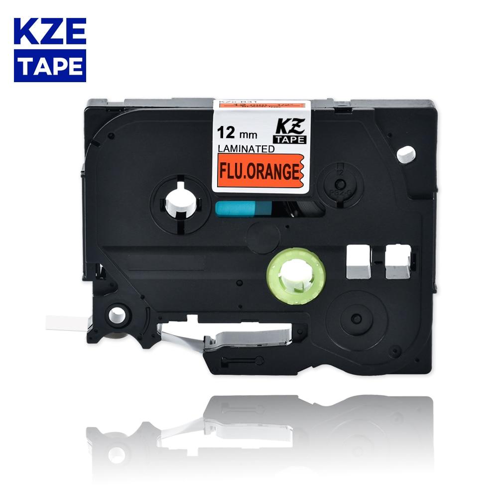 Fita Tze-B31 tze b31 tzeb31 para p-touch pt 12mm tzeb31 preto na gripe. fita de etiquetas laminada laranja