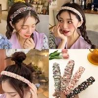 mueraa flower printted folds retro women girls hair accessories hairband headband spring summer fashion cloth ornament for women