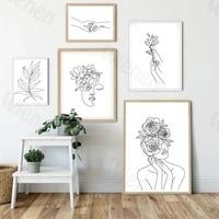 Peinture de decor de maison dartiste  ligne abstraite  Simple fleur feuille beaute visage  decoration murale pour salon chambre a coucher  Art mural