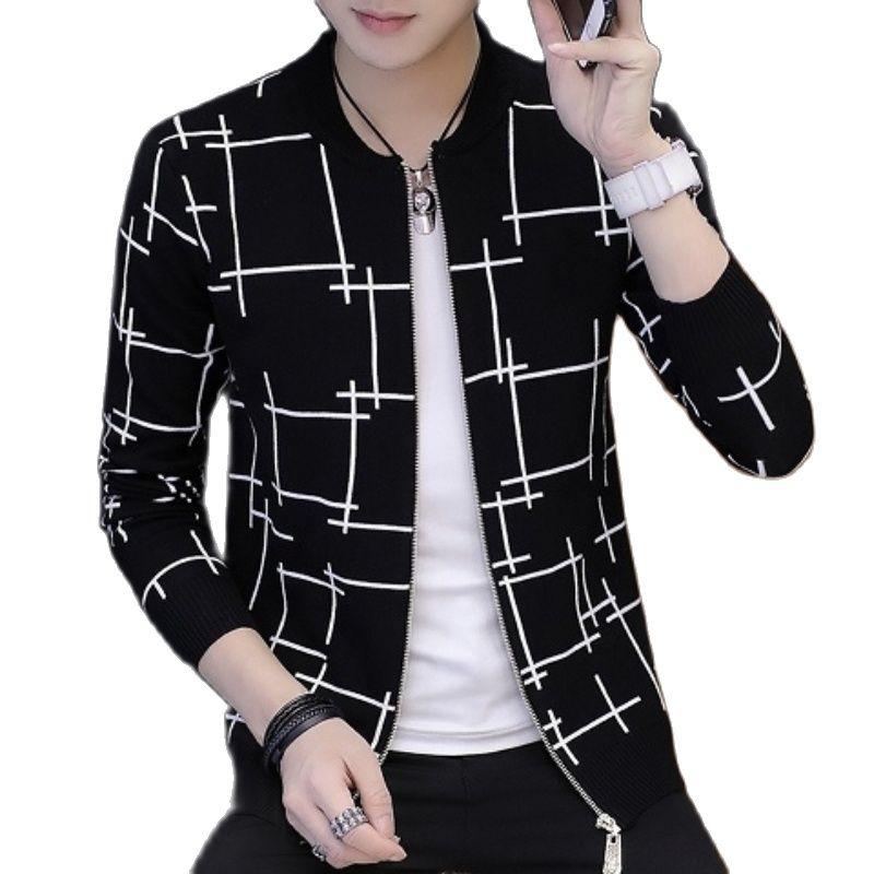 2021 весна и осень мужской вязаный свитер с круглым вырезом куртка тонкий кардиган джокер Джокер молодых мужчин подкладка куртка