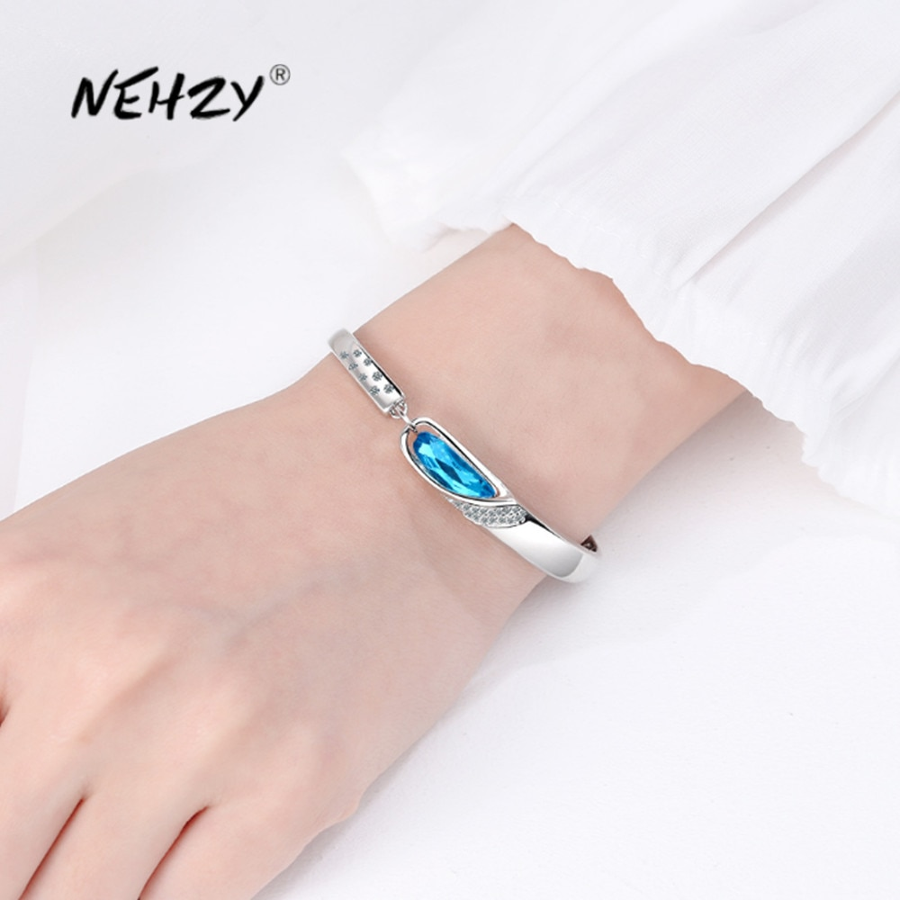 AliExpress - NEHZY 925 sterling silver new woman fashion jewelry high quality blue crystal zircon retro simple hot selling DIY bracelet