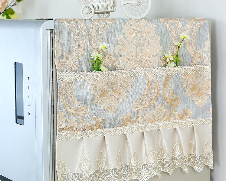 Fyjafon Refrigerator Covers Lace Dust Cover Household Merchandises Kitchen Dustproof Covers With Storage Bag 53*135/70*170
