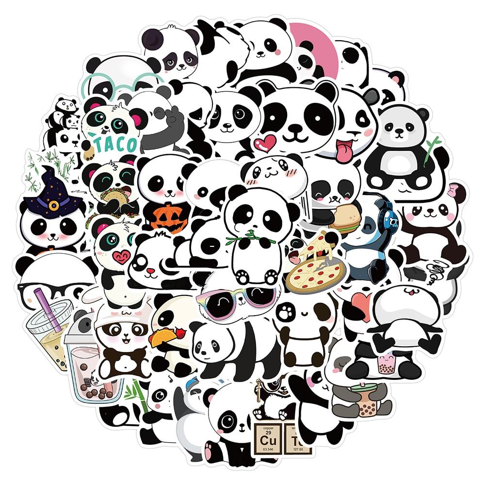 10/30/50PCS Cute Panda Cartoon Animal Stickers Luggage Skateboard Cute DIY Cool Graffiti Waterproof