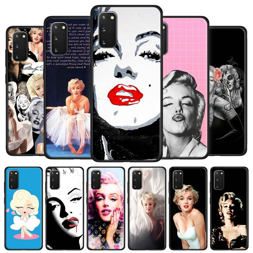 Marilyn Monroe caso Coque para Samsung Galaxy S10 S20 Ultra 5G S8 S9 S10 S20 Plus Nota 8 9 10 Plus cubierta negro