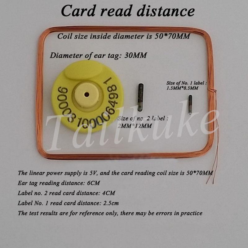 134.2KHZ وحدة قراءة بطاقات ، علامات مخصصة للحيوانات وحدة القارئ ، EM4305 غطاء أذن وحدة قارئ القدم.