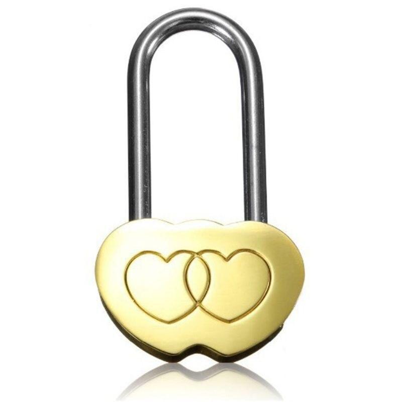 Candado personalizado OOTDTY grabado de doble corazón enamorado bloqueo aniversario de San Valentín