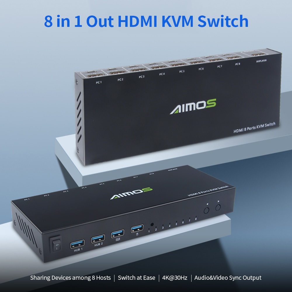 AIMOS 8 in 1 Out HDMI KVM Switch Sharing Monitor/Keyboard/Mouse/Printer among 8 Hosts/ 4K@30Hz/Audio&Video Sync Output
