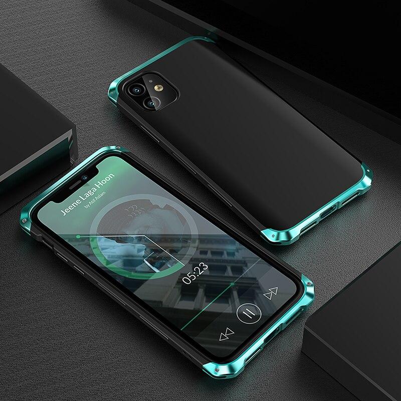Funda de Metal a prueba de golpes para Iphone, carcasa trasera de...