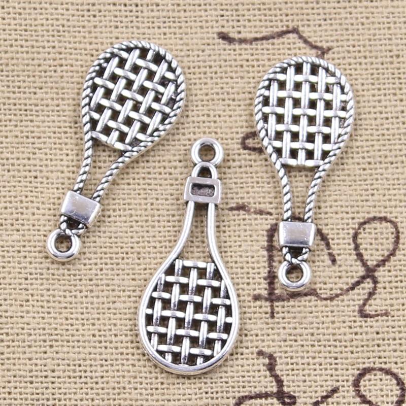 30pcs Charms Tennis Racket Badminton Racket 29x12mm Antique Silver Color Pendants DIY Making Findings Handmade Tibetan Jewelry