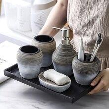 Soporte de cepillo de dientes dispensador de jabón botella de emulsión taza de enjuague bucal Retro hecho a mano cerámica accesorios de baño almacenamiento conjunto de baño