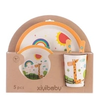 childrens tableware five piece suit disc bamboo plate cartoons set of dishes plates baby tableware bowl cup fork spoon