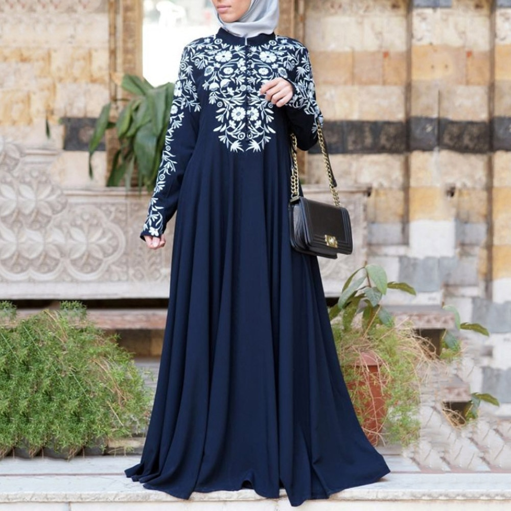 Dubai muçulmano abaya vestido longo feminino étnico floral impressão islam kaftan robe maxi vestidos plus size manga longa outono femme vestido