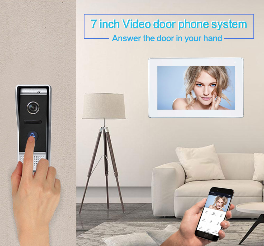 HD Smart 7 inch 1080P IP WIFI Video Intercom for Home Monitor Entry System AHD Resolution Doorphone Frame with 2.0MP Camera enlarge