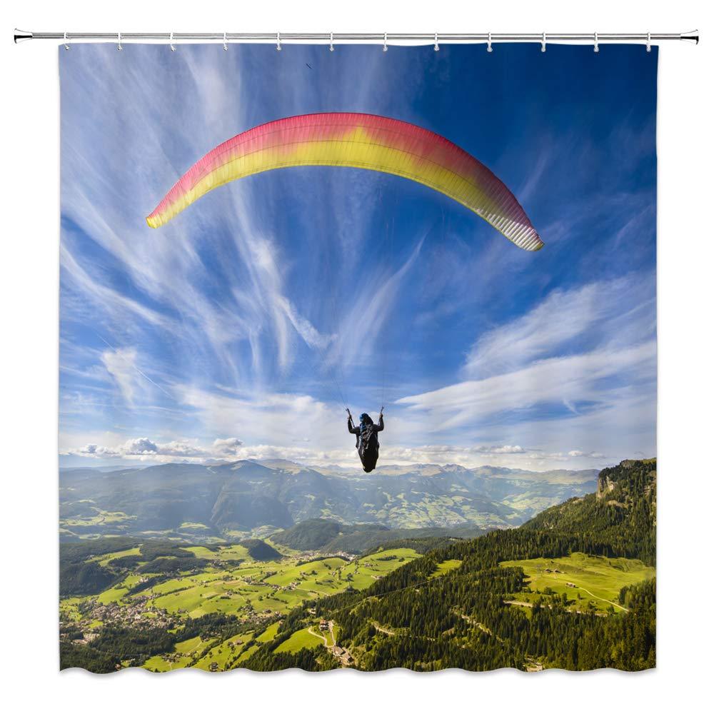 Cortina de ducha de decoración de paracaídas paracaidista en el aire naturaleza paisaje Pastoral montañas verdes árboles de tierra de cultivo cielo azul, impermeable