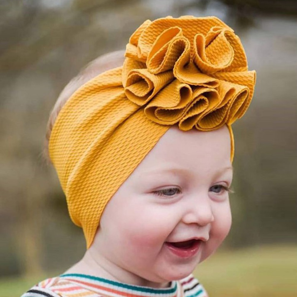 30Pcs Toddler Ruffle Topknot Floral Turban for Girls Head Wrap 2020 New Arrival Bullet Headband Kids Hair Accessories Wholesale