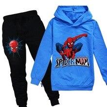 Spiderman Children Hoodies pants 2PCS sets Pattern Kids Long Sleeve Sweatshirts Boys Tops Clothes T shirts Girl Cartoon Costume